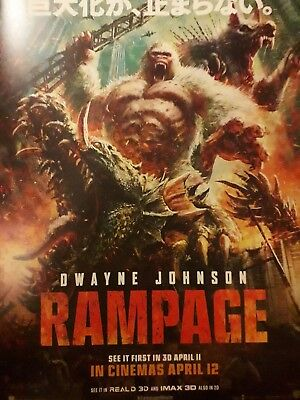 "RAMPAGE.  MOVIE POSTER. ""The Rock"" .2018 A3 OFFICIAL, IMEX,ODEON"