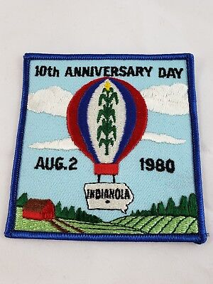 Vintage Hot Air Balloon Patch INDIANOLA IOWA 10th Anniversary Day August 2,1980
