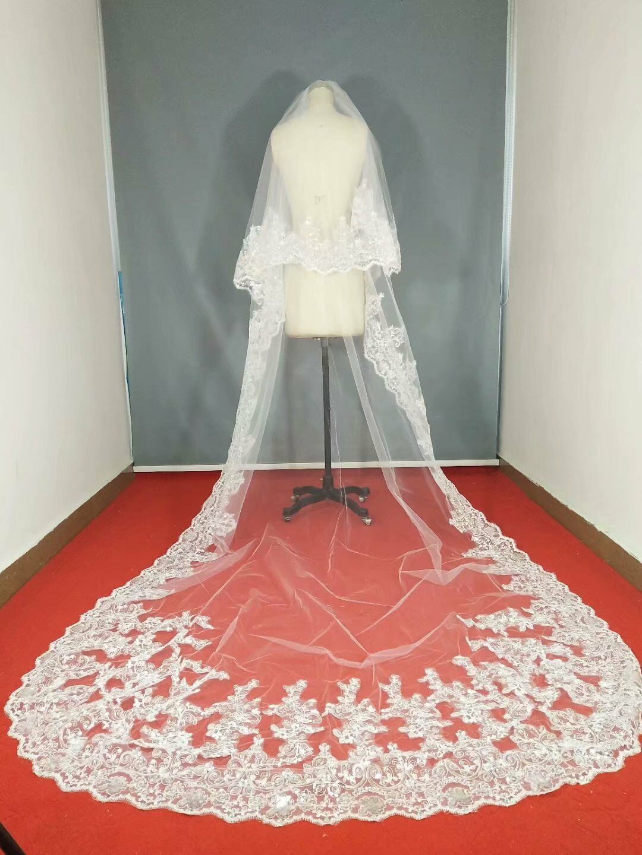 f31fe538f4 Details about 3M Wedding Veils Cathedral 2T Comb Bridal Veil Accessories  Lace Applique Sequins