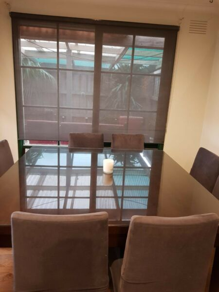 8 seater square solid timber table and chair set