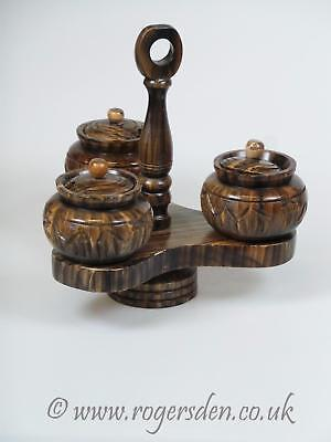 Treen  Condiments Jars or Pots On Rotating Stand