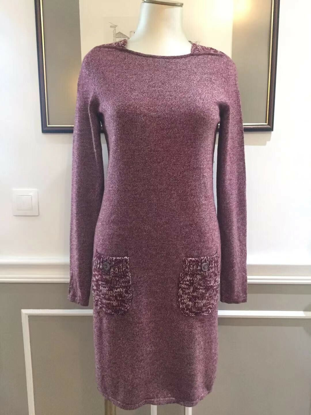 Authentique chanel robe cachemire / pre-owned chanel cashmere knit dress