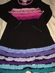 Me & Ko girls sz. 6 black multicolor striped dress. Cute