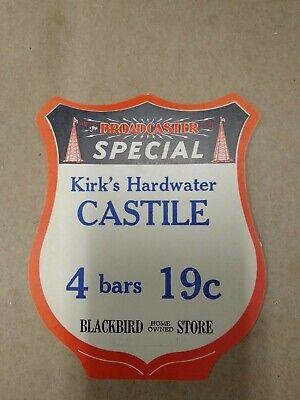 Vintage Blackbird Store Sale Sign For Kirk's Hardwater Castile Soap