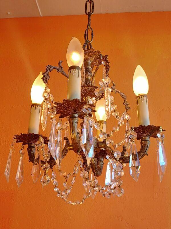 Vintage Petite Spanish Brass Chandelier crystal prisms 4 arms
