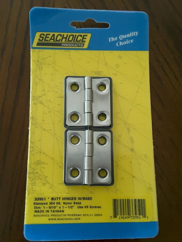 "SEACHOICE BUTT HINGE W/BASE 304 SS 1 5/16"" x 1 1/2 PAIR 33951 set"