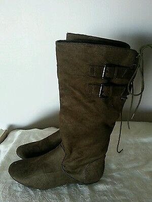 Material Girl NEW 7.5 M Bonita Olive Fabric Knee high fashion boots flat buckle