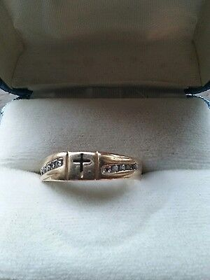 scrap14k yellow gold ring with diamonds or wearable 3 grams size 10