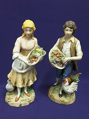 Home Interiors Homco Figurines #1401 Young Man and Woman w/Fruit