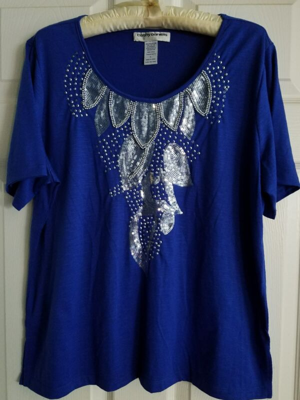 Women's Cathy Daniels Blue Short Sleeve Top Size L ~ Silver Sequins Embellished