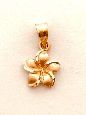 14K Solid Rose Gold Hawaiian Plumeria Flower Charm. 3/8 inches (9 mm) C2653-50