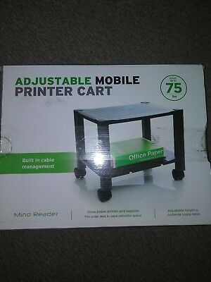 Adjustable Height 2 Shelf Mobile Printer Cart W Cord Management Black