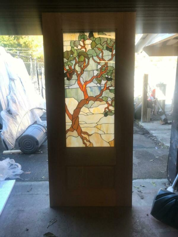 BEAUTIFUL CUSTOM MADE SOLID MAHOGANY TREE OF LIFE STAINED GLASS DOOR - KSGD5
