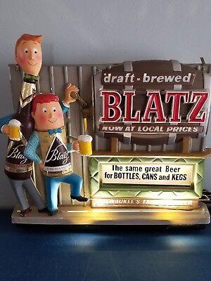 VTG 1964 blatz beer Back bar can bottle statue guys  Motion moving light up sig