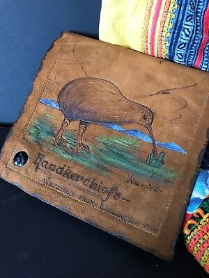 Old New Zealand 1930's Leather Handkerchief Holder …beautiful & unique collec...