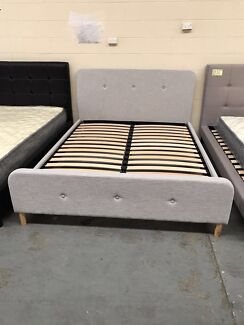 Brand new fanric bed frame with super strong slats D$270, Q$290
