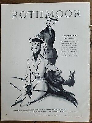 1951 Rothmoor women's fashion suit coat Scottie dog Scottish Terrier ad