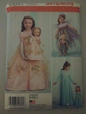Matching Costumes For Kids (SIMPLICITY PATTERN 1305 A SIZES 3-8 FOR MAKING MATCHING DRESSES FOR CHILD &)