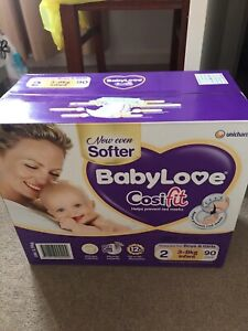 Babylove Nappies 3-8kg $15