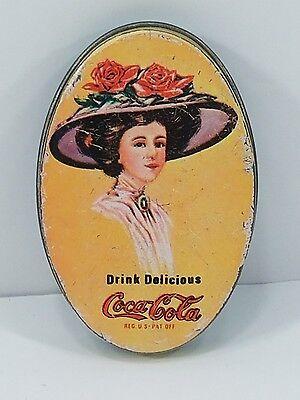 Vintage Drink Delicious Coca Cola - Button Tin - Ad Advertising Collectable Z1