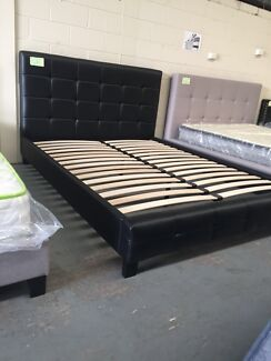 Brand new leather bed frame with super strong slats D$290,Q$320