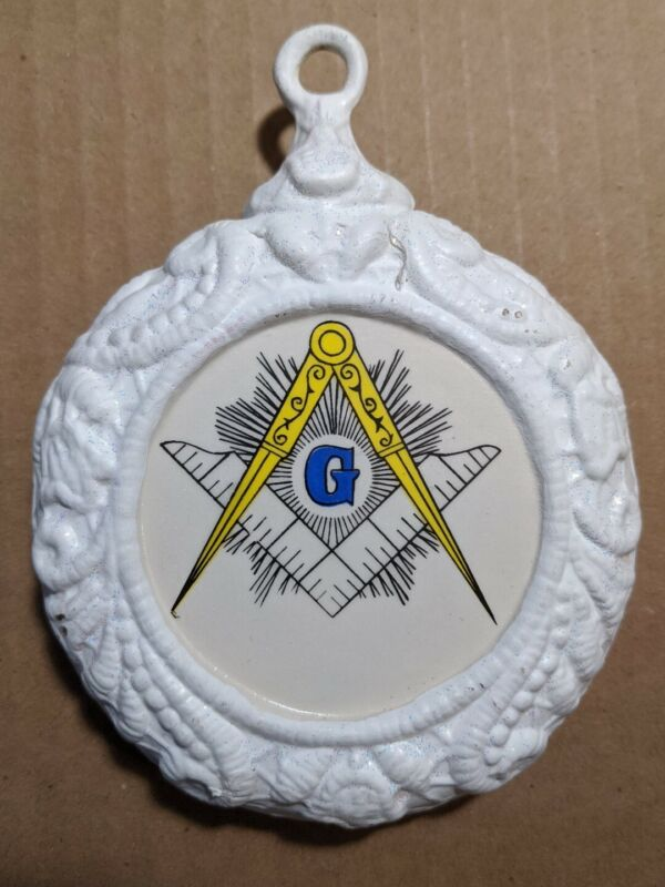 Vintage Masonic Double Sided Christmas Tree Ceramic Ornament