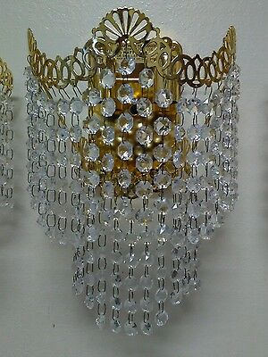 1 WALL SCONCE LAMP CRYSTAL PRISMS Hollywood Regency (3 available)