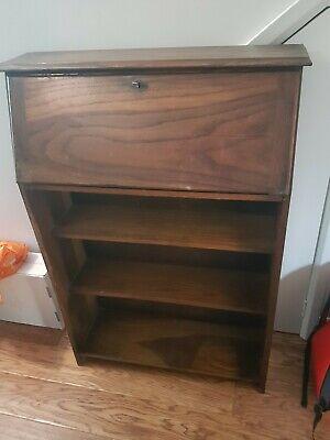 Vintage Bureau / Writing Desk with Key. Slim with Shelves
