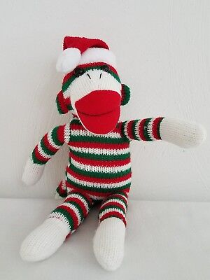 Santa Hat Sock Monkey Plush Stuffed Toy Christmas Holiday - Christmas Sock Monkey