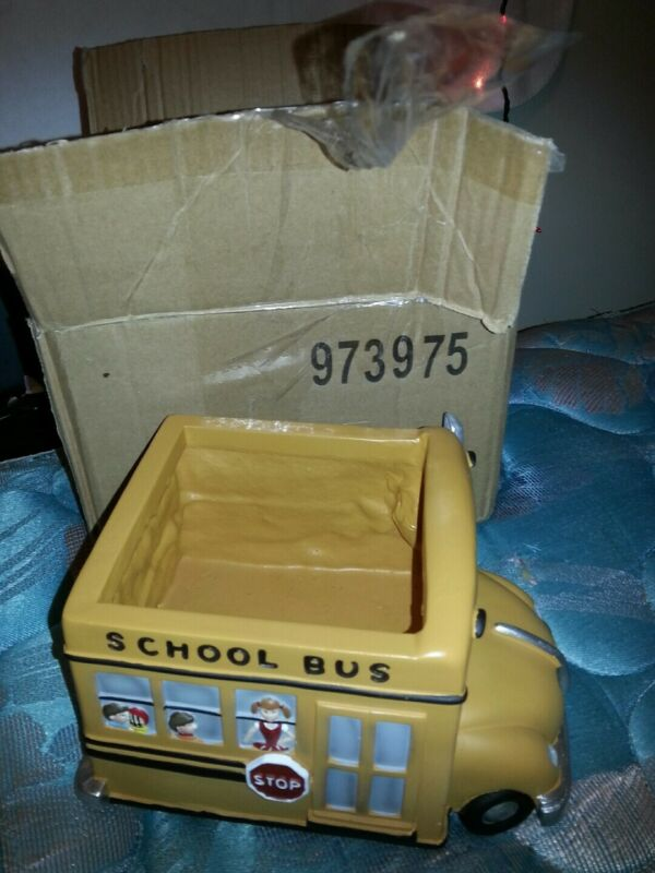 Ceramic School Bus Planting Pot (7 Inches)