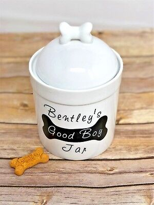 Personalized Dog Treat Jar with Name - Good Boy/Girl - Dog Bone Lid - Ceramic