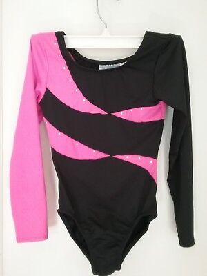 Freestyle Danskin leotard, gymnastic, dance, black pink sparkle, M, 7/8