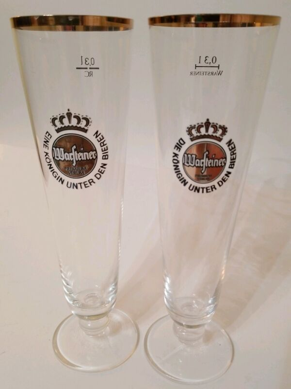"Lot of 2 Warsteiner 0.3 L Premium Verum Beer Glasses Gold Trim 9"" Tall"