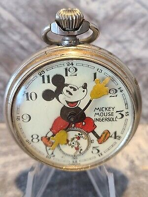 Original 1930's British Ingersoll Rat Nose Mickey Mouse Pocket Watch