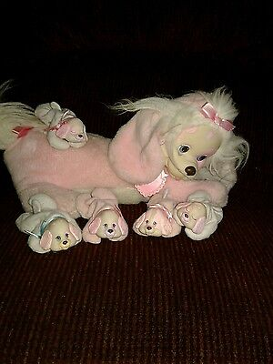 Vintage 1991 Puppy Surprise Pink Puppy Dog And 5 Babies Stuffed Animal Plush
