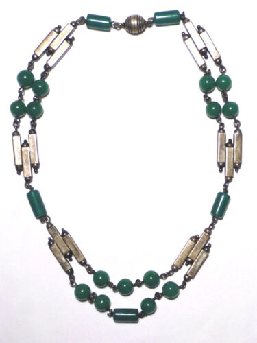 Gorgeous ART DECO Sterling SILVER 925 GREEN GLASS Bar/Bead MODERNIST NECKLACE