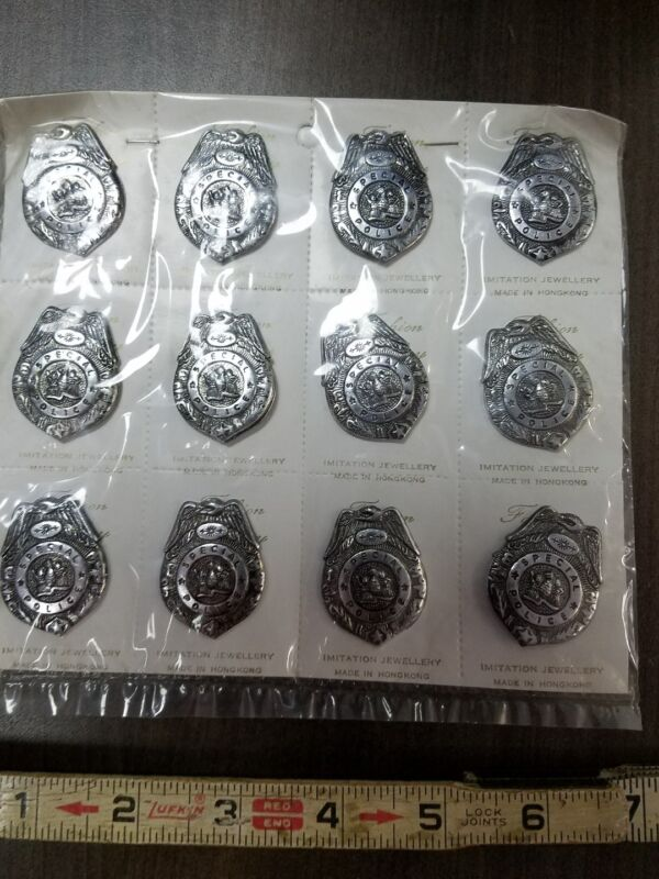 12 vintage special police badges imitation jewelry old pin on metal badges
