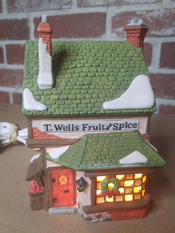 Department 56 Dickens Village Series T. Wells Fruit And Spice Shop