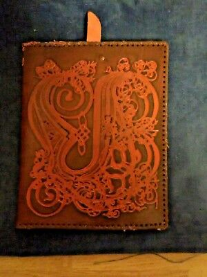 Vintage Handmade LEATHER Holy Bible Cover Hand Tooled Embossed SCRIPT B Rare 😏