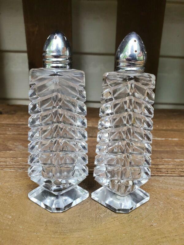 Antique Cut Lead Crystal Salt & Pepper Shakers