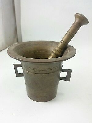ANTIQUE BRONZE PESTLE AND MORTAR Old Style Grinding Tool Kitchen Device - Old Style Kitchen Bowl