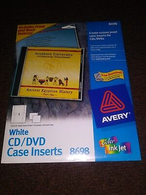 New Avery 8698 Customize Labels White Cddvd Jewel Case Inserts Pack Of 10 Set