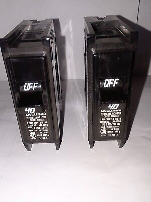 Lot Of 2 New Challenger C140 1 Pole 40 Amp 120240v Plug In Circuit Breakers