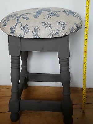arts and crafts stool with bird motif woven fabric upcycled