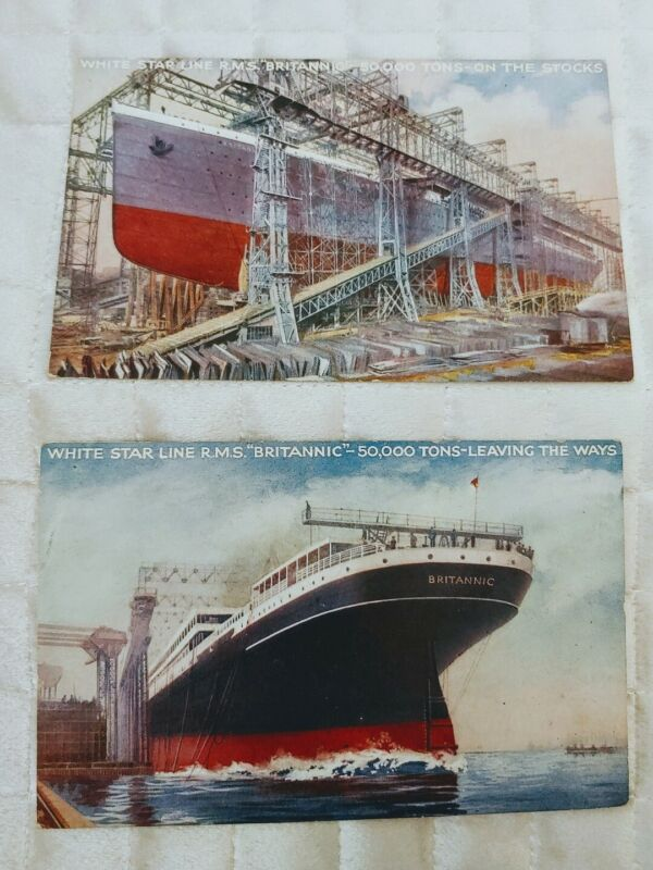 RMS BRITANNIC Building postcard VERY RARE ss rms Titanic sister Lot of 2