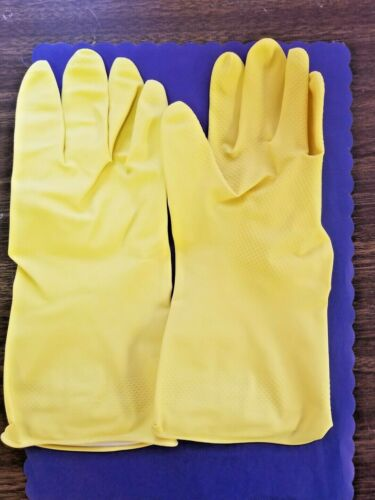 (12-PAIRS) YELLOW RUBBER GLOVES NATURAL LATEX FLOCK LINED EXTRA LARGE (12-PAIRS)