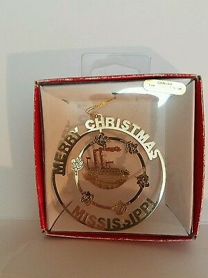 Merry Christmas Mississippi Brass Christmas Ornament