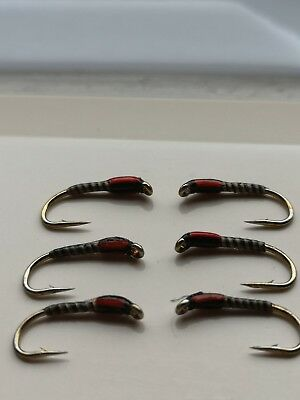 1 DOZEN  TUNGSTEN HEAD SILVER /& RED SPANISH NYMPHS FOR FLY FISHING TUNG-4