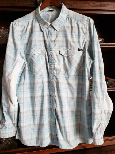 NRS Womens XL Guide Shirt Western Snaps UPF35 Pale Turquoise Plaid WORN ONCE