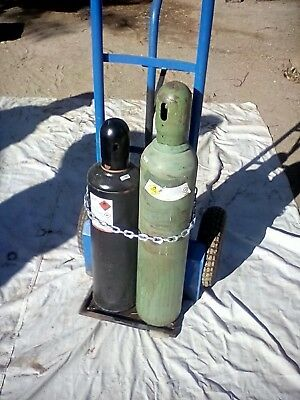 Oxy-actetyline Torch Set Full Tanks Guages 50ft Hose Cart
